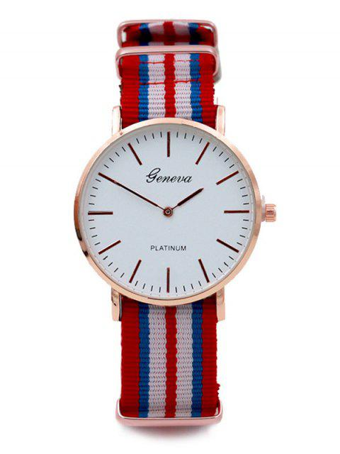 new Striped Analog Quartz Watch - RED  Mobile