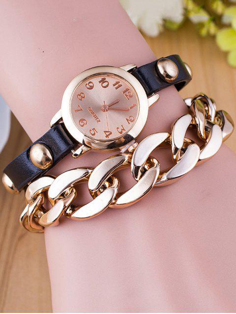 fancy Chain Quartz Bracelet Watch - BLACK  Mobile