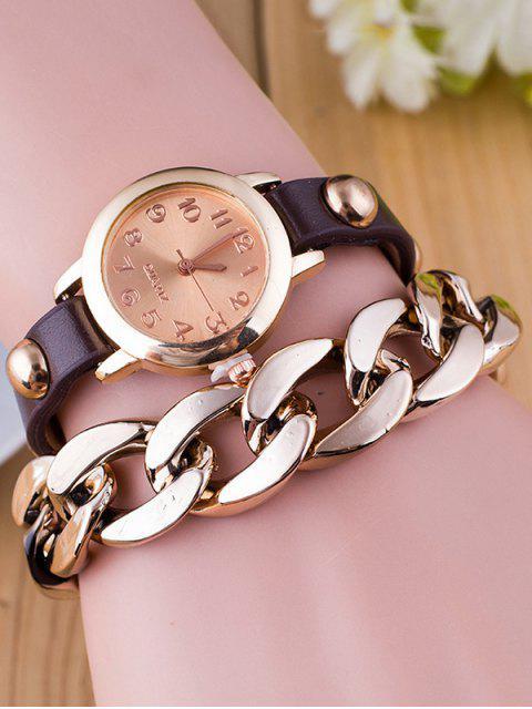 unique Chain Quartz Bracelet Watch - COFFEE  Mobile