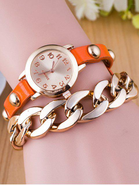 affordable Chain Quartz Bracelet Watch - ORANGE  Mobile