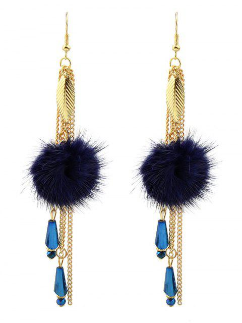 buy Fuzzy Ball Leaf Chain Earrings - BLUE  Mobile