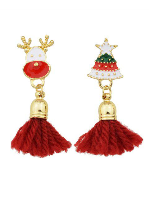 womens Christmas Tree Elk Tassel Asymmetric Earrings -   Mobile