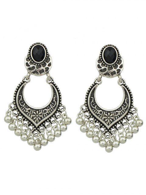 Boucles d'oreilles rétro perlées frangées embellies géométrique - Argent  Mobile