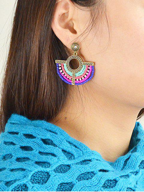 online Bohemian Circle Beads Drop Earrings - GOLDEN  Mobile
