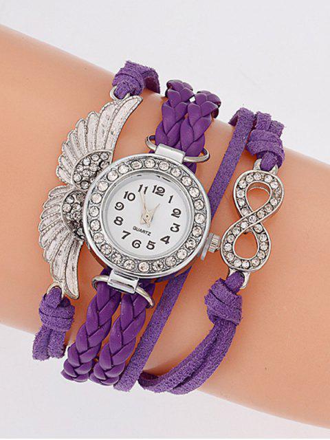 lady Layered Braided Quartz Bracelet Watch - PURPLE  Mobile
