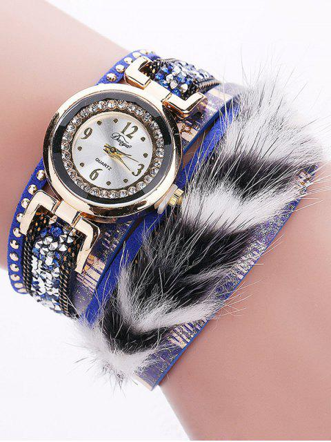 outfit Layered Studded Faux Fur Bracelet Watch - BLUE  Mobile