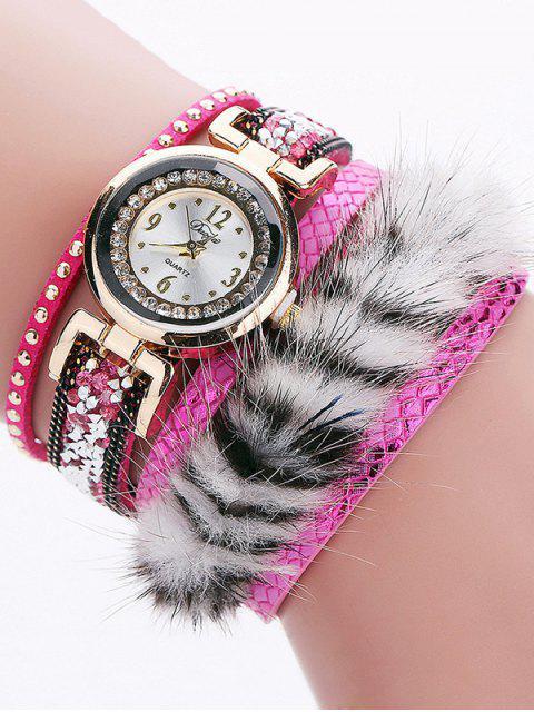 shop Layered Studded Faux Fur Bracelet Watch - TUTTI FRUTTI  Mobile