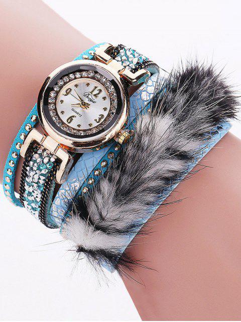 latest Layered Studded Faux Fur Bracelet Watch - AZURE  Mobile