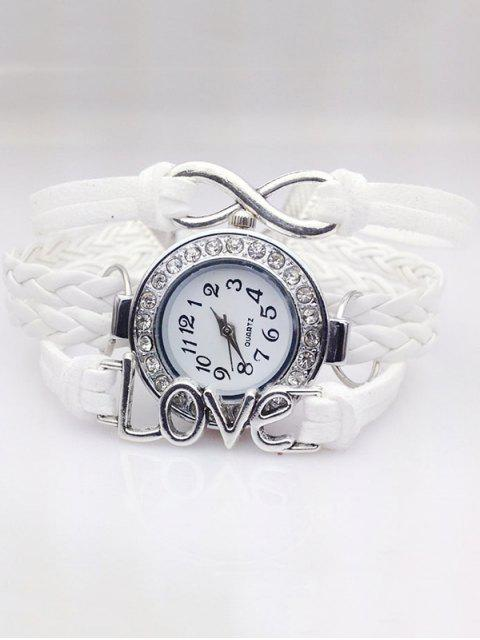 trendy Love Braided Quartz Bracelet Watch - WHITE  Mobile