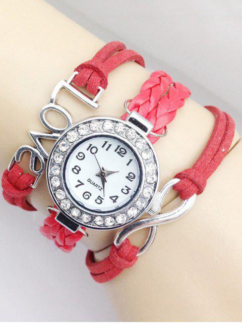 fashion Love Braided Quartz Bracelet Watch -   Mobile