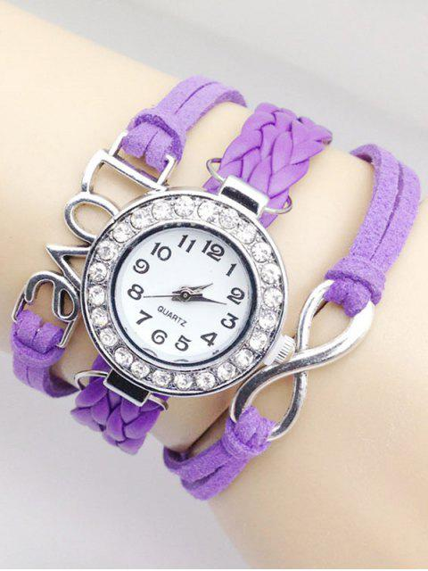 chic Love Braided Quartz Bracelet Watch - PURPLE  Mobile