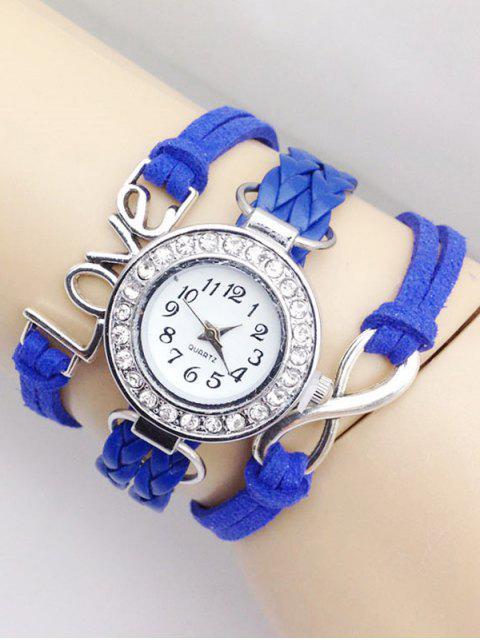 fancy Love Braided Quartz Bracelet Watch - BLUE  Mobile
