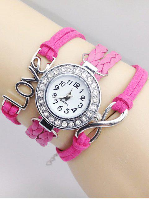 affordable Love Braided Quartz Bracelet Watch - PINK  Mobile