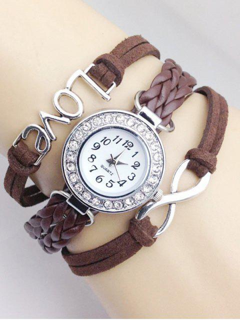 buy Love Braided Quartz Bracelet Watch - BROWN  Mobile