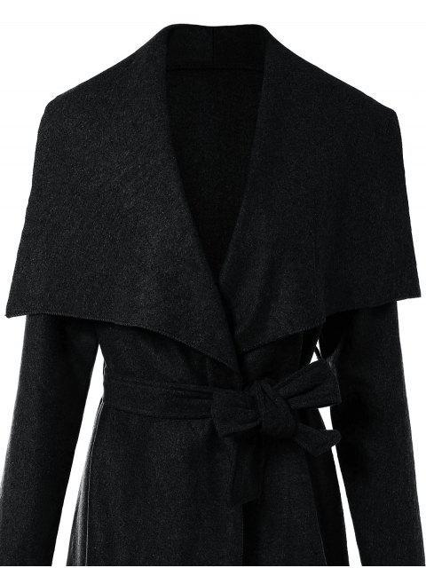 shops Tie Waist Shawl Collar Wrap Coat - BLACK S Mobile