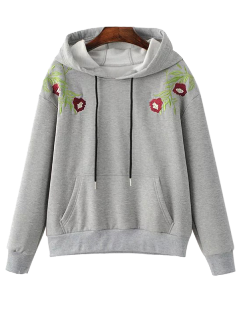 women Drawstring Flower Embroidered Hoodie - GRAY M Mobile