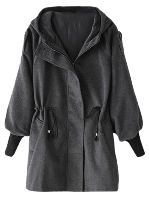 shop Hooded Wool Coat - DEEP GRAY M Mobile