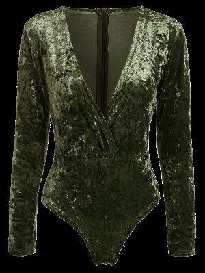 Body En Velours Col Plongeant Manches Longues - Vert Foncé Perle L
