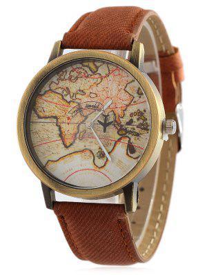 Mapa de imitación de cuero reloj de cuarzo