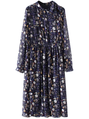 Printed High Collar Chiffon Flowing Dress - Purplish Blue L