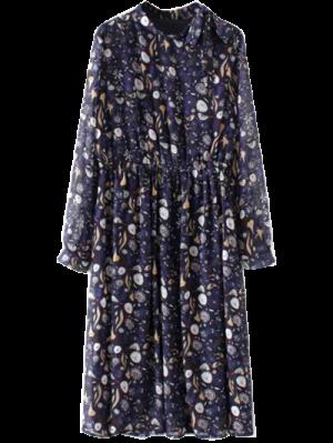 Imprimé Col Haut Robe En Mousseline - Bleu Violet M