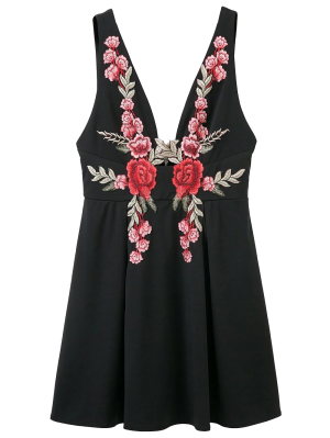 Floral Apliques Mini Vestido Escotado - Negro L