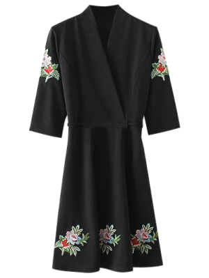 Retour Tied Floral Surplice Brodé Robe - Noir L