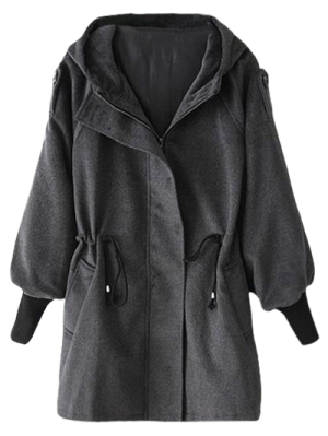 Hooded Wool Coat - Deep Gray S