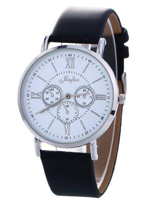 Faux Leather Roman Numeral Analog Watch - Black