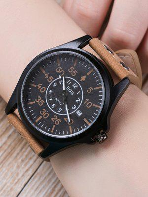 Faux Leather Calendar Watch with Waterproof Design