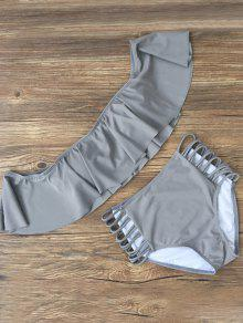 Flounced Off The Shoulder Bikini - Gray Xl
