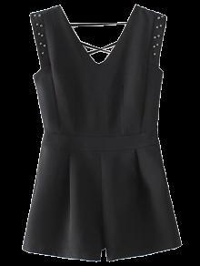 Studded Sleeveless Romper - Black L