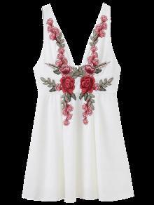 Floral Applique Low Cut Mini Dress - White L