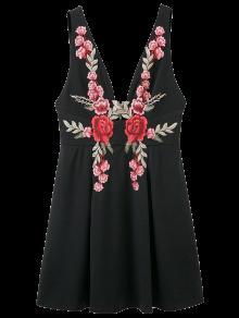 Floral Applique Low Cut Mini Dress - Black S