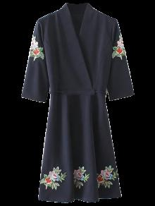 Back Tied Floral Embroidered Surplice Dress - Purplish Blue S