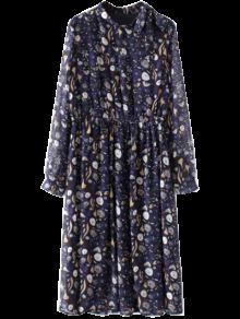 Printed High Collar Chiffon Flowing Dress - Purplish Blue S