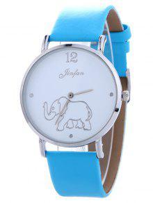 Montre En Quartz Imprimée De éléphant Avec Bracelet En Cuir Faux - Bleu