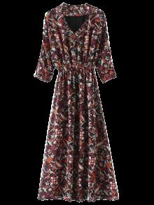 Printed V Neck Maxi Dress - Multicolor M