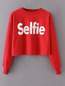 Cropped Selfie Sweatshirt - Red M