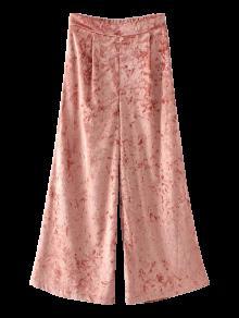 Cintura Elástica Pierna Ancha Pantalones De Terciopelo Machacado - Naranja Rosa L