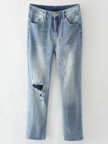 Light Wash Distressed Denim Pants - Light Blue M