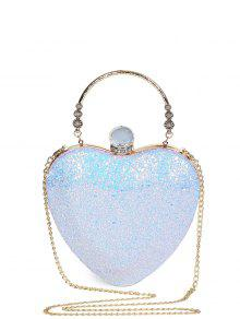 Buy Metal Handle Heart Shape Rhinestones Evening Bag - BLUE