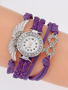 Reloj Pulsera Cuarzo Imitación Diamantes Alas Trenzado - Púrpura