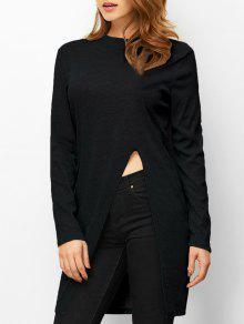 Buy High Neck Slit T-Shirt - BLACK S