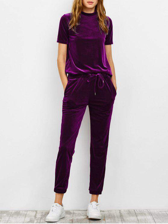 lady Velvet Tee and Jogging Pants Sweat Suit - PURPLISH RED M