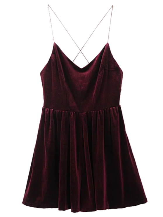 sale Low Back Slip Velvet Skirted Romper - WINE RED S