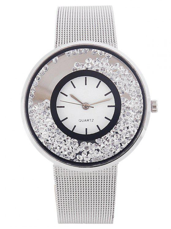 fancy Metal Mesh Rhinestone Quartz Watch - SILVER