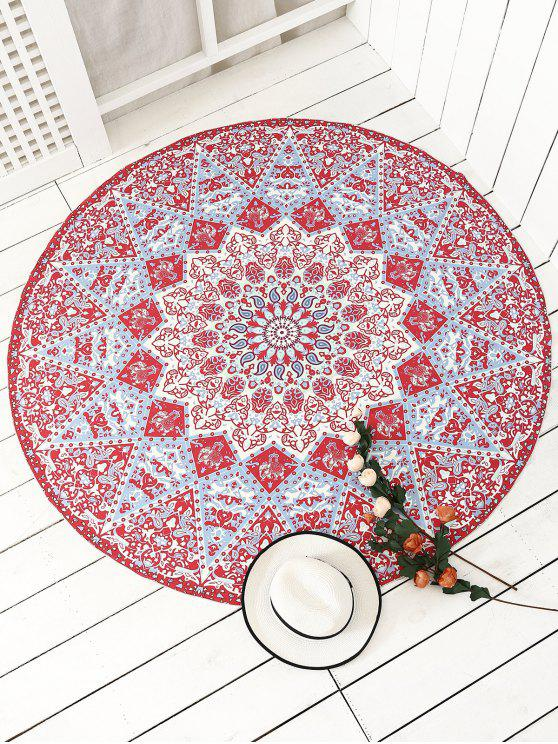 latest Indian Printed Mandala Beach Throw - RED ONE SIZE