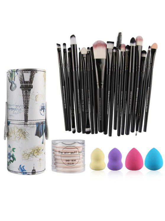 lady Makeup Brushes Kit + Makeup Sponges + Air Puffs - BLACK