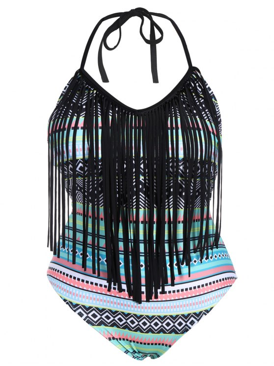 sale Tribal Print Plus Size Fringe Swimwear - COLORMIX 3XL